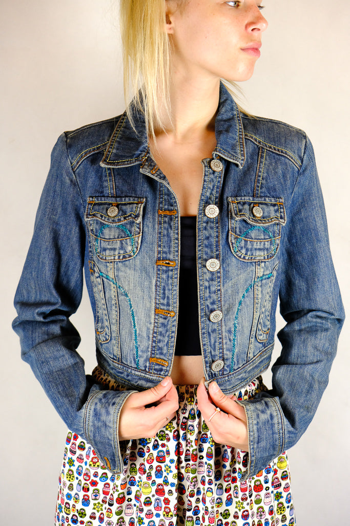 Edwin Japan Ladies Cropped Classic Denim Jacket - Size S/M