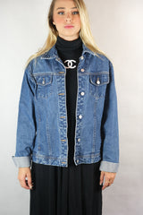 Vintage Classic Blue Wash Ladies Denim Jacket - Size M/L