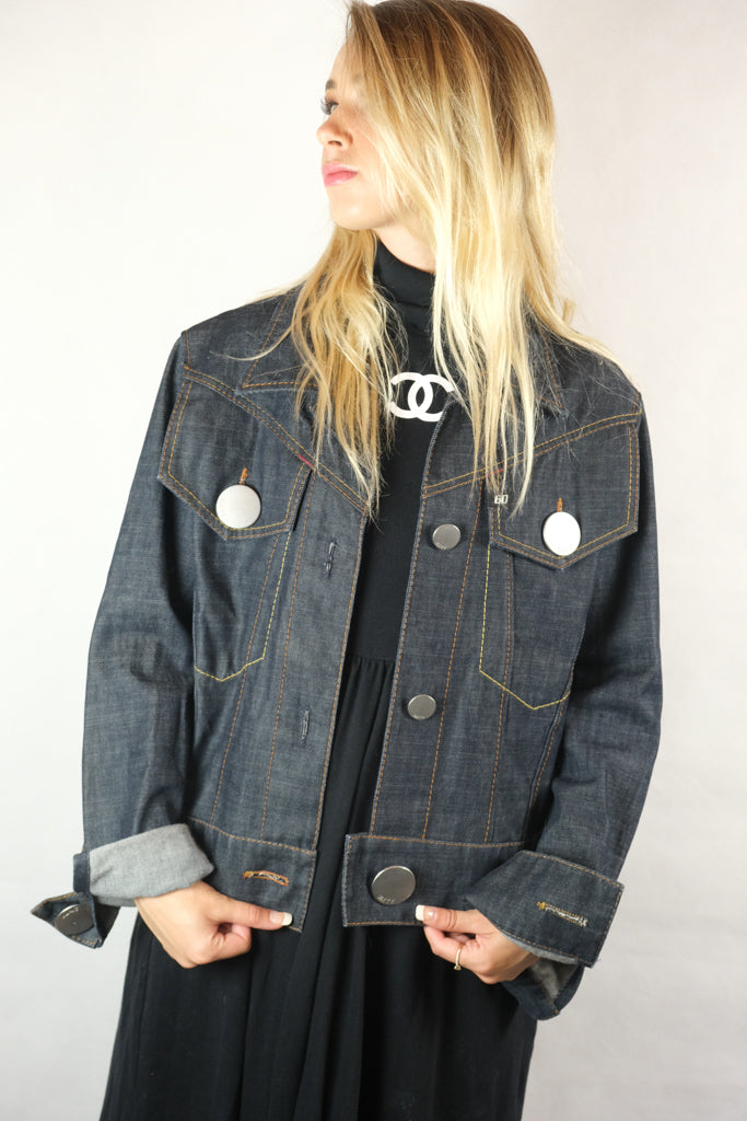 Miss Sixty  Ladies Oversized Button Denim Jean Jacket - Size L