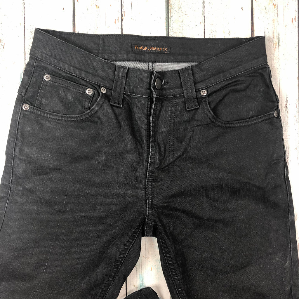 Nudie Jeans Co. 'Thin Finn' Dry Black Coated Jeans - Size 30