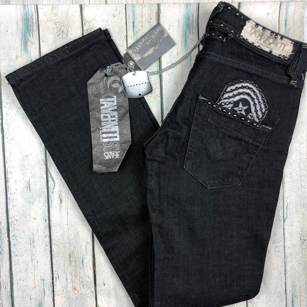 NWT - Travertini Italy Charcoal Studded  Straight Denim Jeans RRP $499.00- Size 29