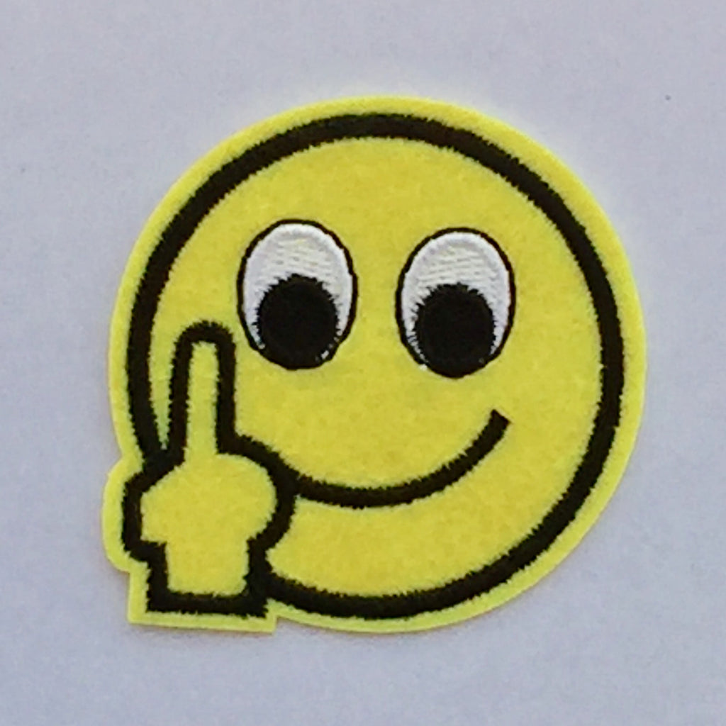 Up yours Emoticon- Embroidered Cloth Patch