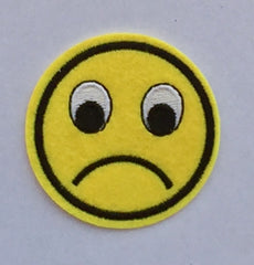 Sad Emoticon- Embroidered Cloth Patch