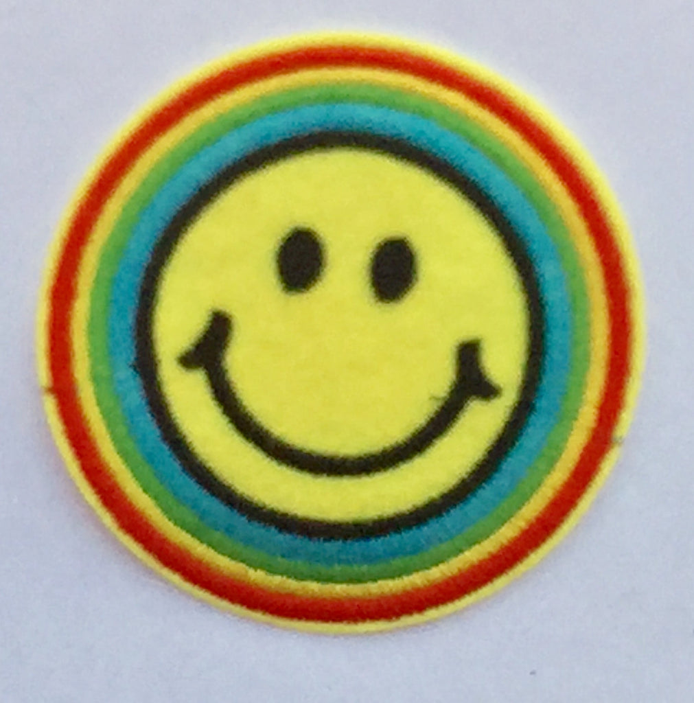 Happy Rainbow Emoticon- Embroidered Cloth Patch