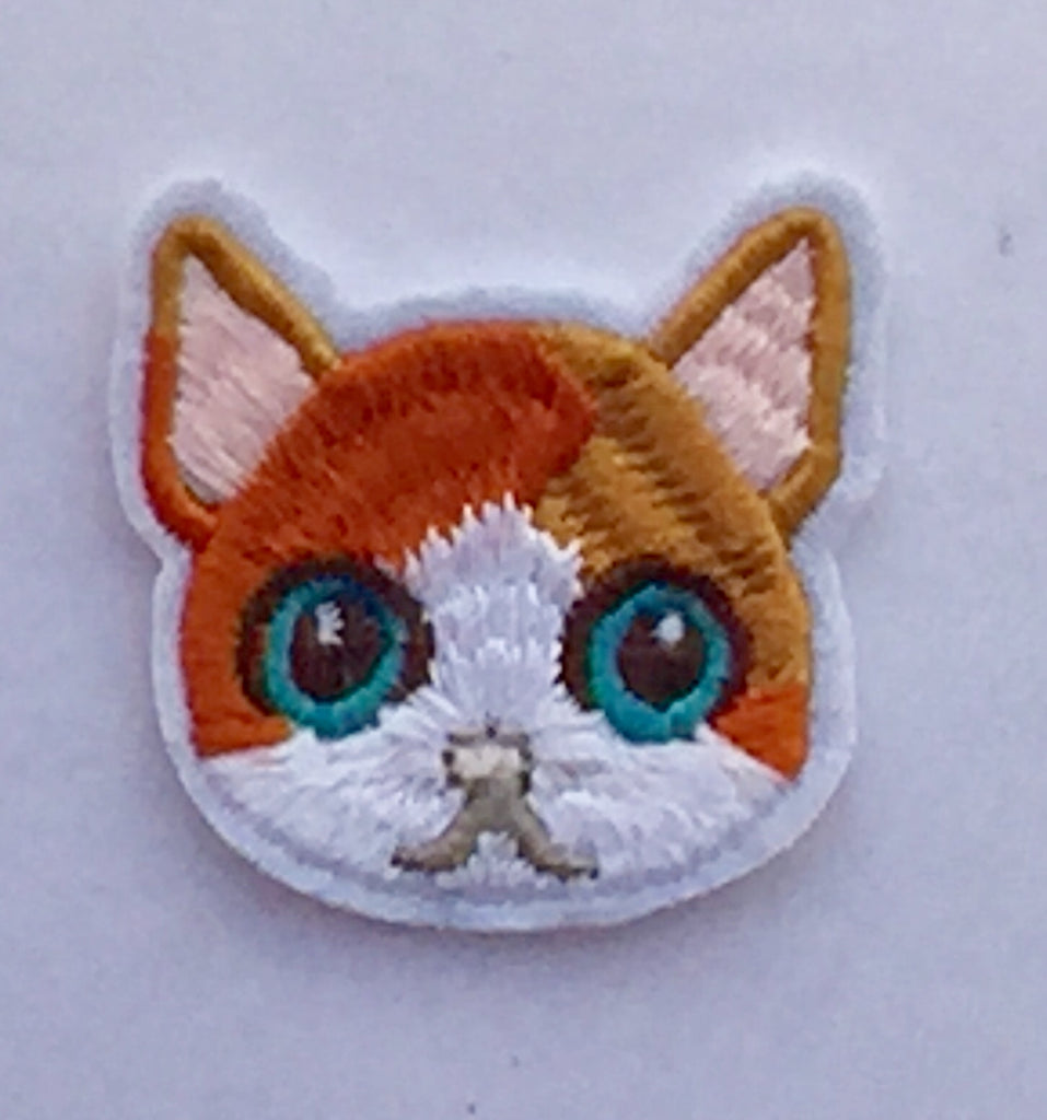 Tabby Cat Face- Embroidered Cloth Patch