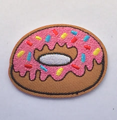 Pink Donut- Embroidered Cloth Patch