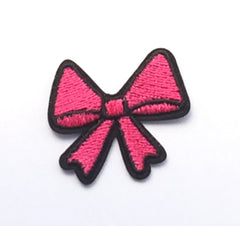 Pink Bow- Embroidered Cloth Patch