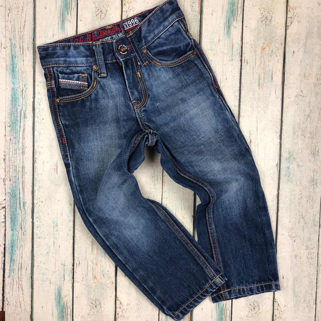 Chalk Denim Straight Slim Boys Jeans - Size 3/4