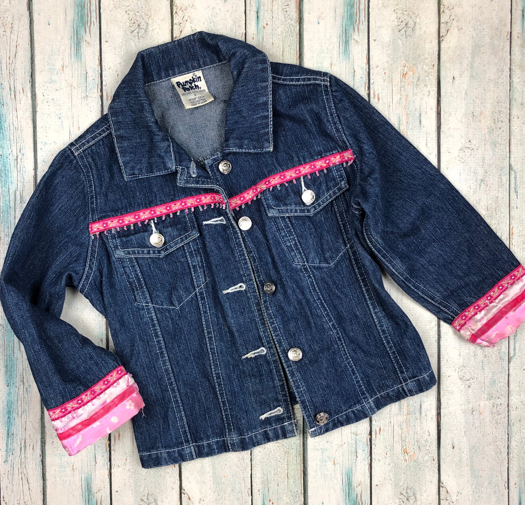 Pumpkin Patch Beaded Trim Girls Denim Jacket - Size 4