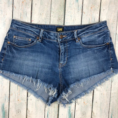 Lee Fray Hem Stretch Denim Cut Off Shorts  - Size 11