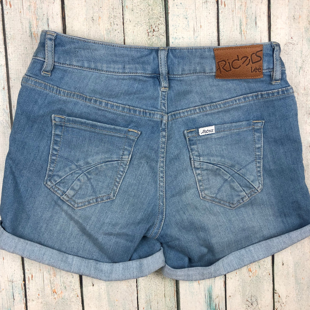 Lee Light Wash Denim Cuffed Stretch Shorts  - Size 8