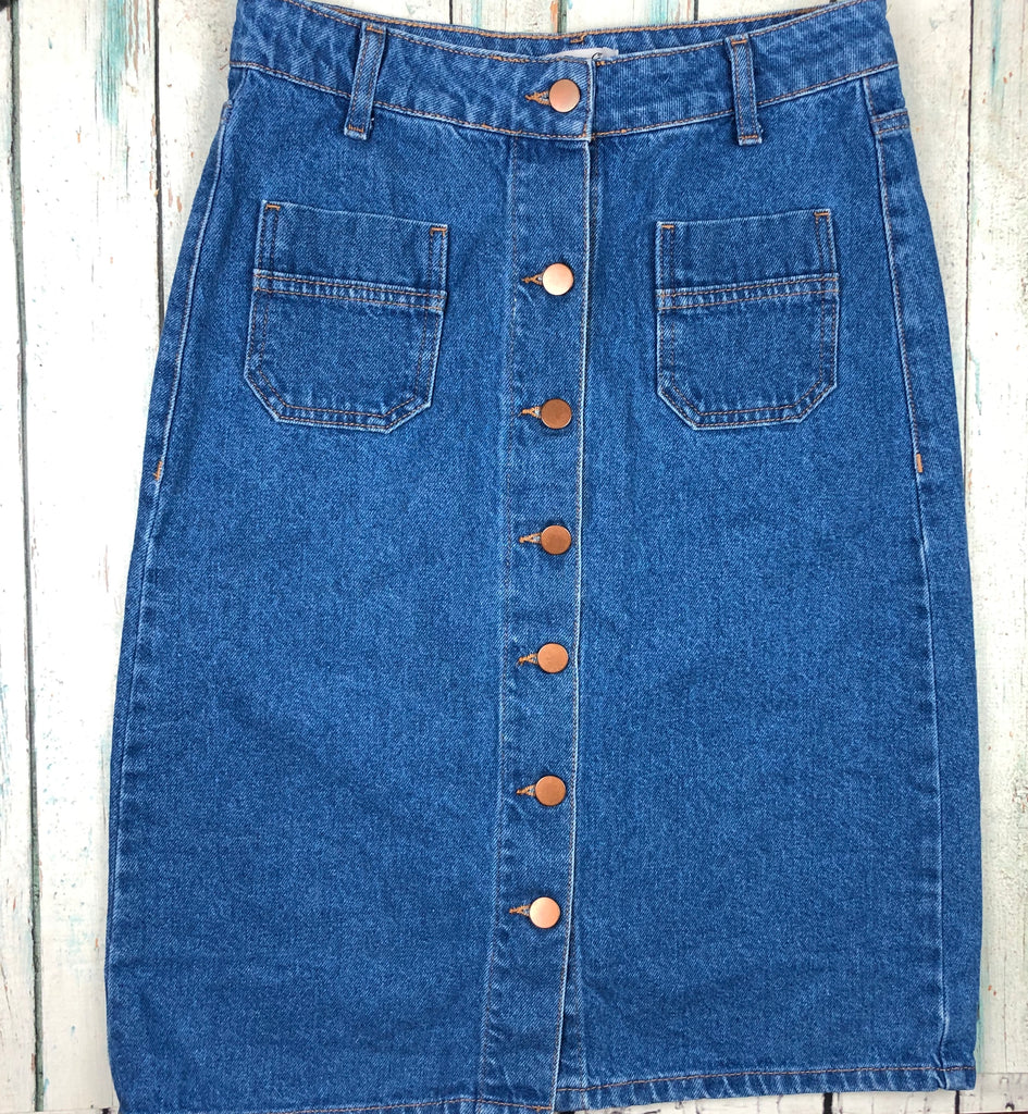 Denim Co. Button Front Denim Pencil Skirt  - Size 8