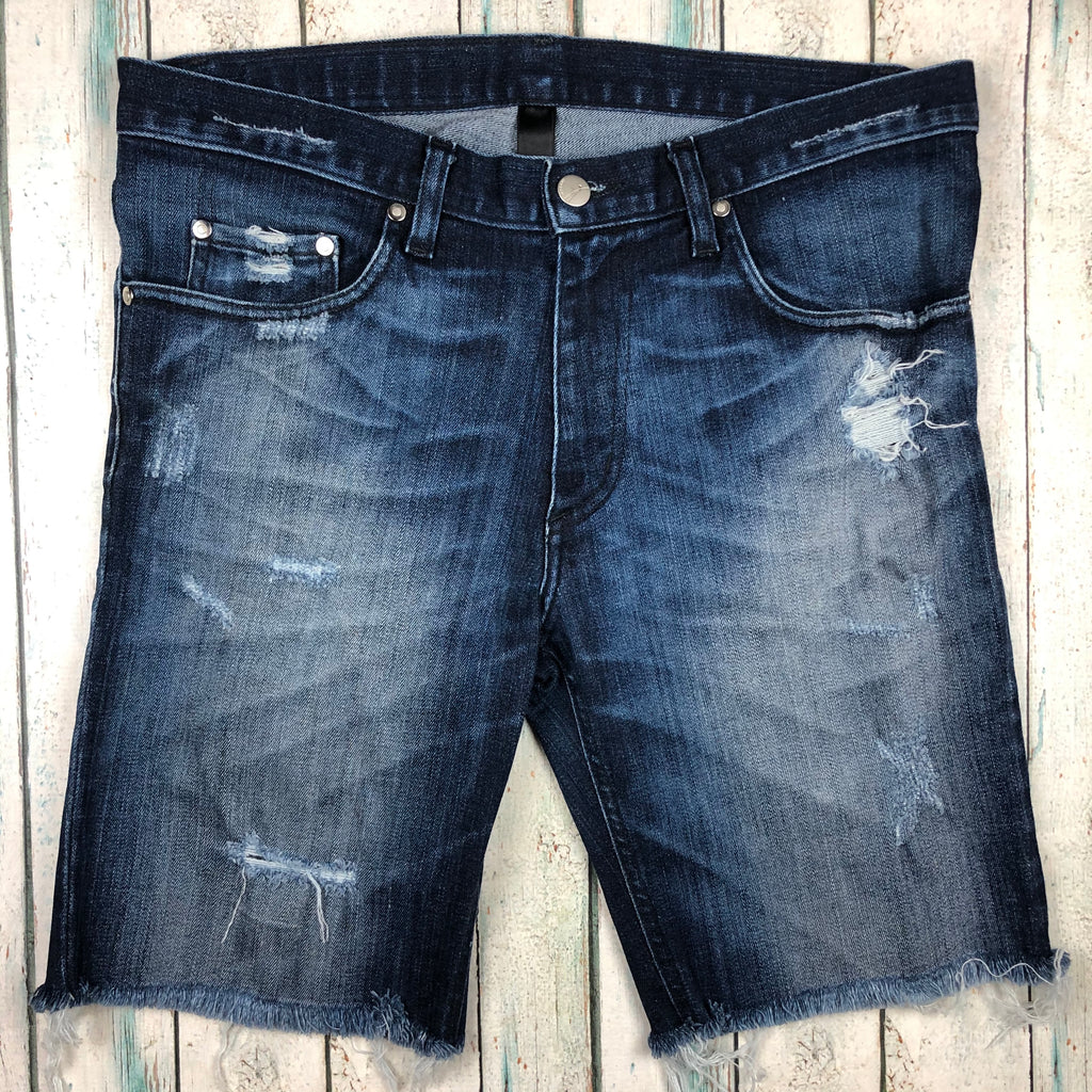 Nobody Cut Off Mens Stretch Destroyed Denim Shorts - Size 34