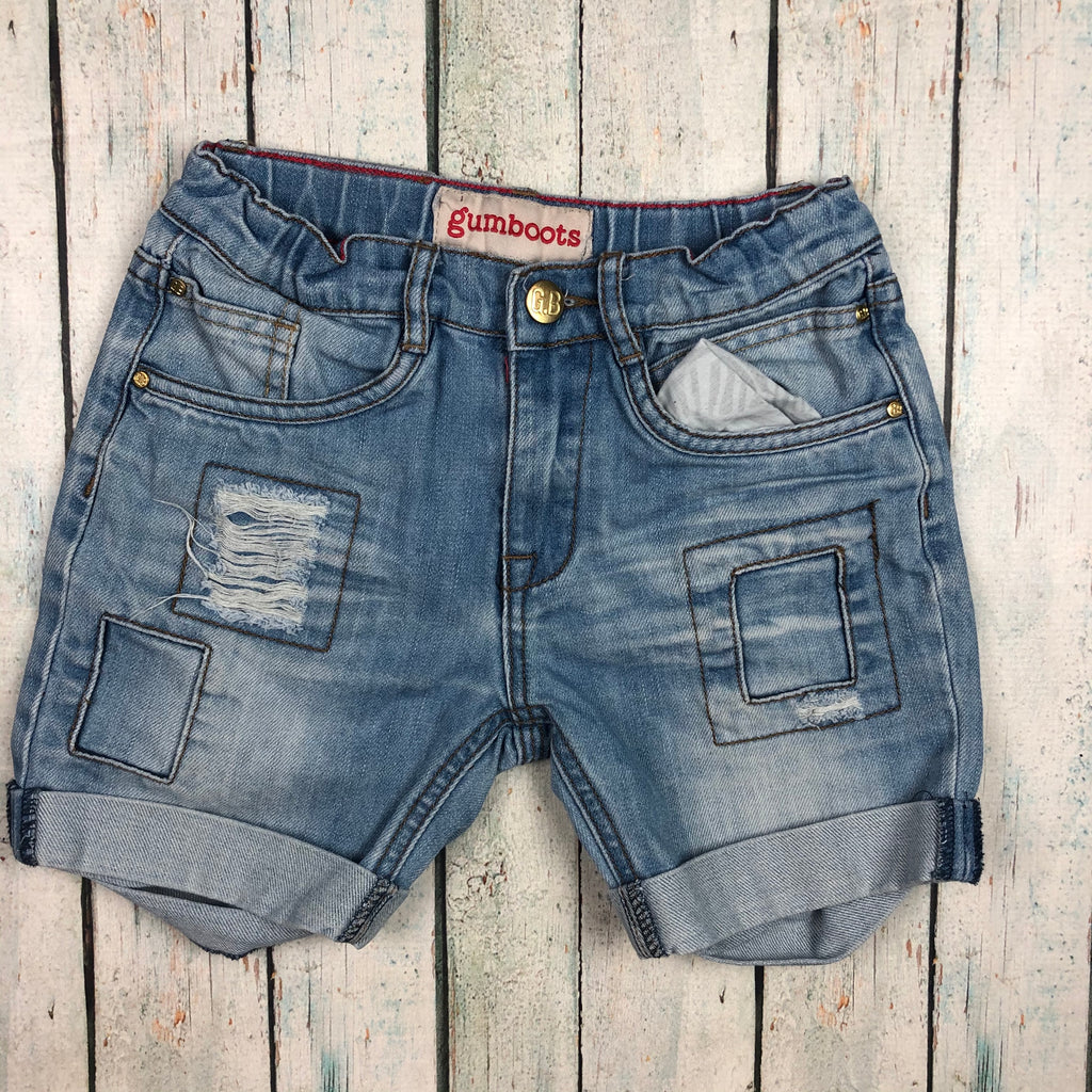 Boys Gumboots Distressed Denim Shorts - Size 7