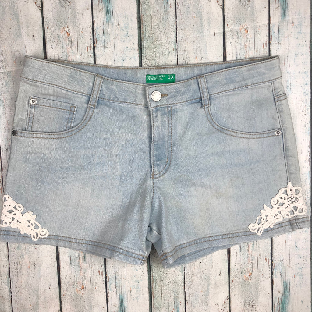 United Colors of Benetton Girls Denim Shorts- Size 13/14