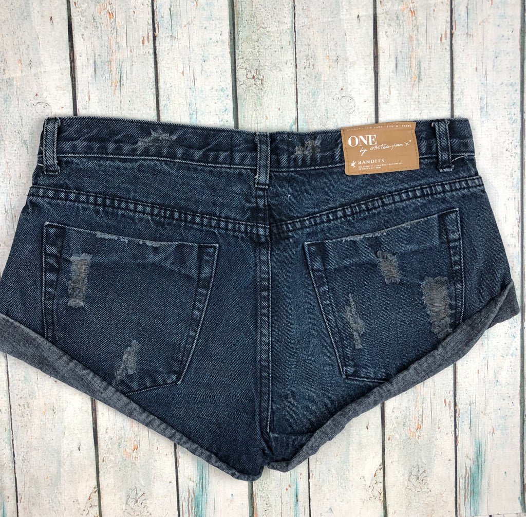 One Teaspoon Fray Hem Destroyed Denim Shorts  - Size 10
