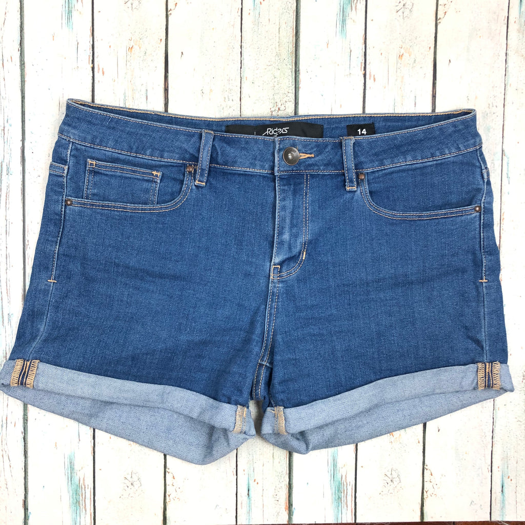 Lee Mid Wash Denim Cuffed Stretch Shorts  - Size 14