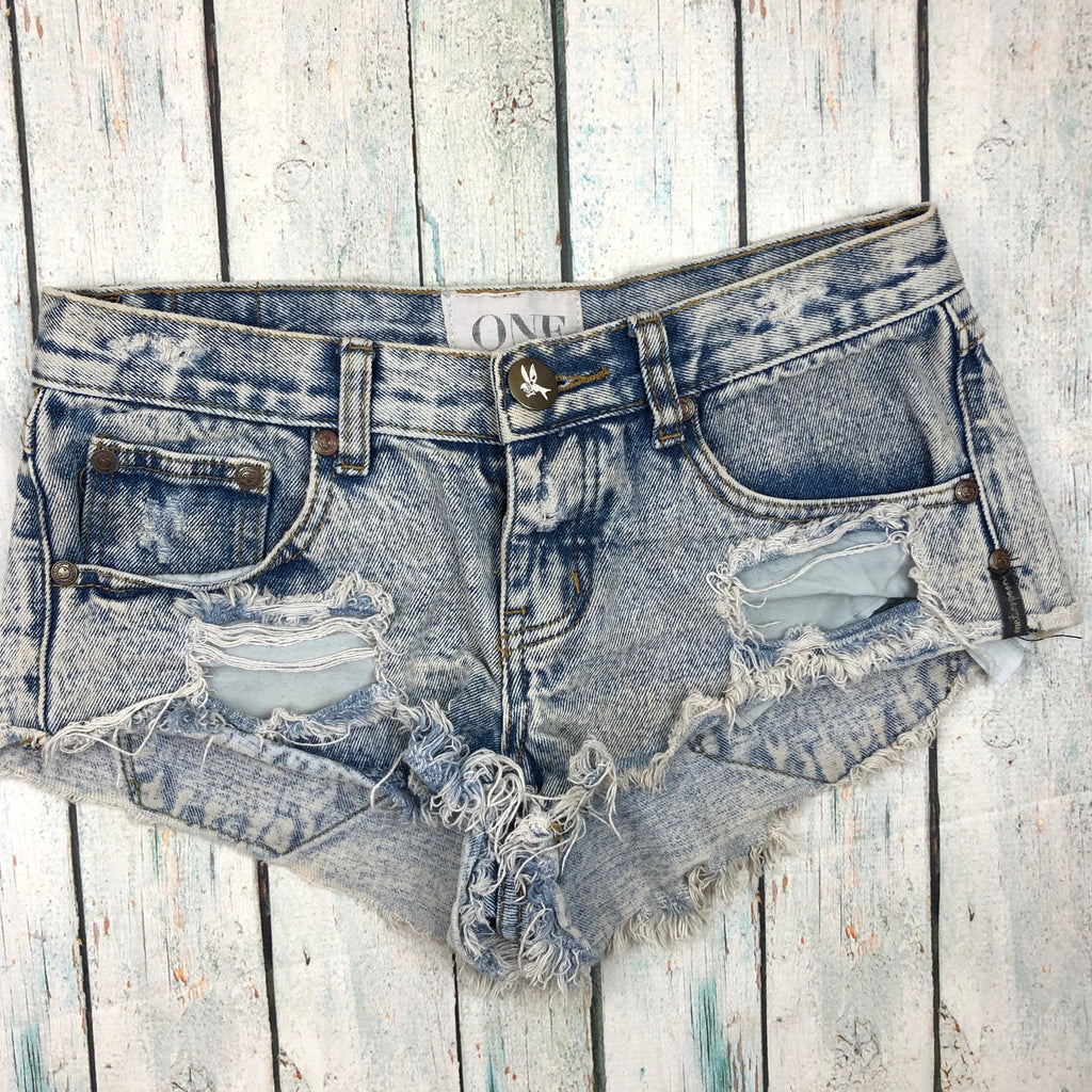 One Teaspoon Fray Hem Destroyed Denim Shorts  - Size 22""