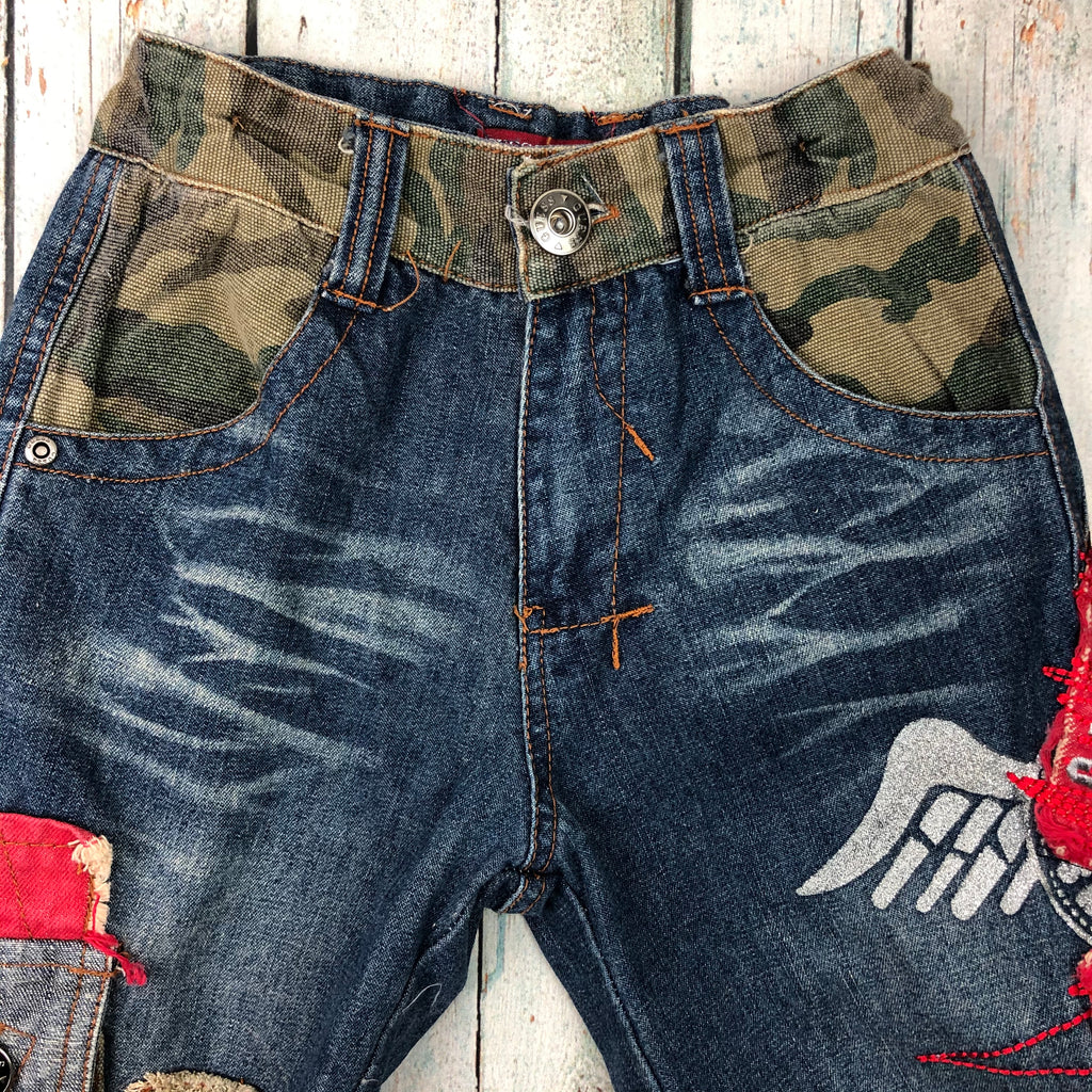 Boys Guess Denim/Camo Cargo Jeans - Size 8