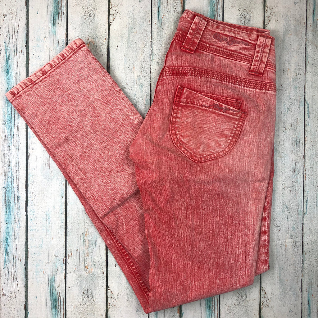 Pepe London 'Venus' Ladies Red Rock Washed Jeans- Size 27/32
