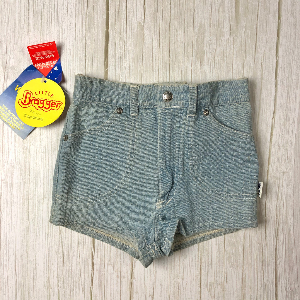 NWT- Braggers Australian Made Denim Kids 1980's Shorts- Size 6