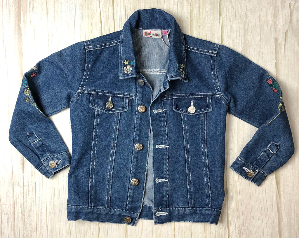 Hullabaloo Embroidered Girls Denim Jacket - Size 4/5-Hullabaloo-Jean Pool