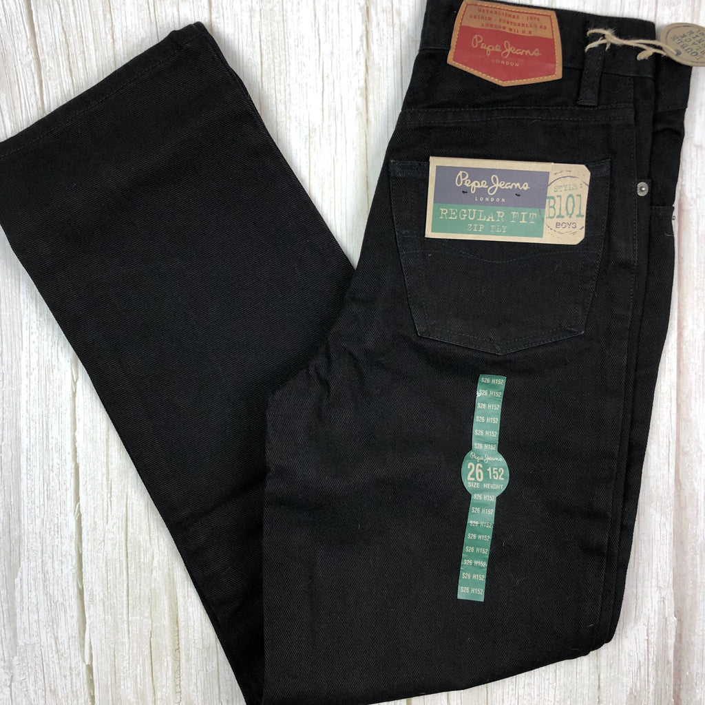NWT - Vintage Deadstock Pepe Jeans Original B101 Boys Black Denim Jeans - Size 12-Jean Pool