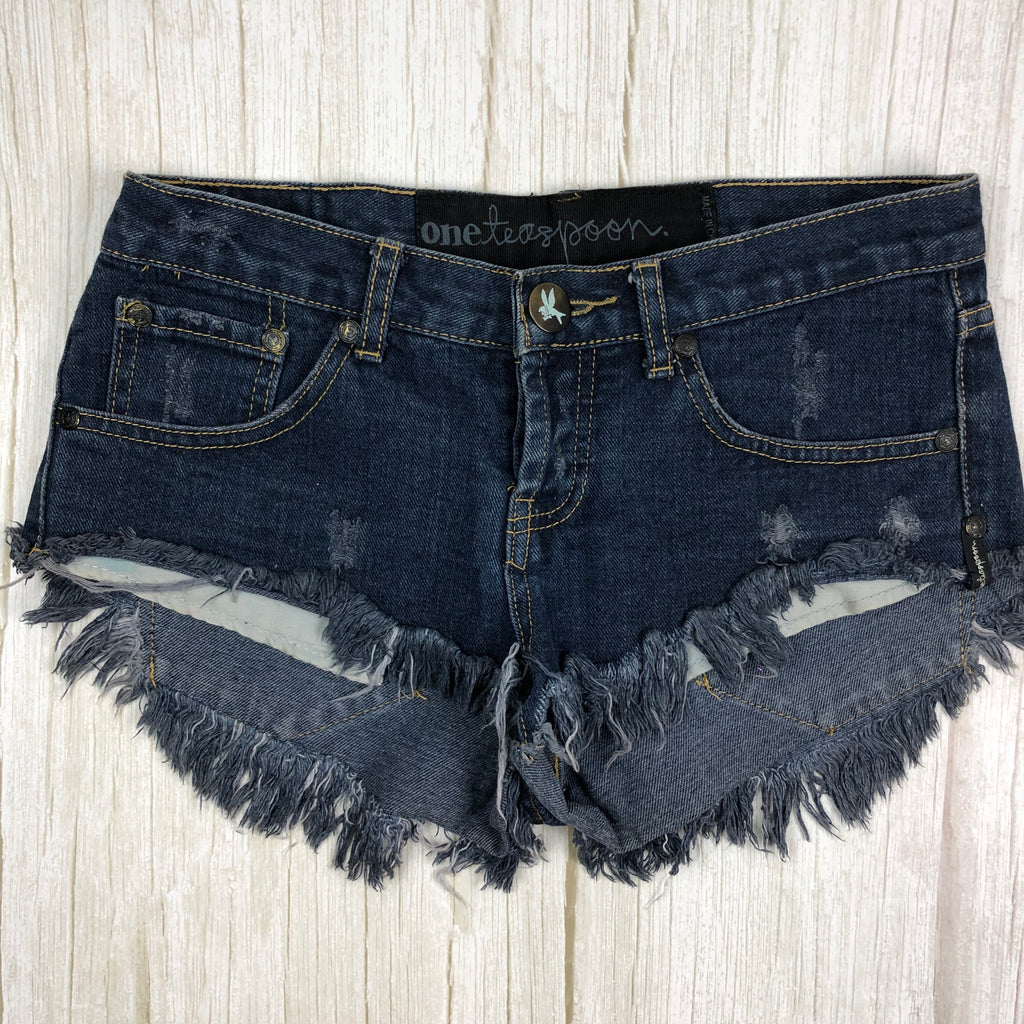 One Teaspoon Ladies Frat Hem Destroyed Denim Shorts - Size 6