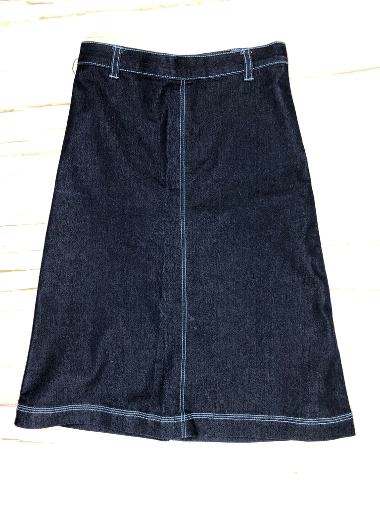 90's Vintage Girls Denim A line Stretch Skirt - Size 6