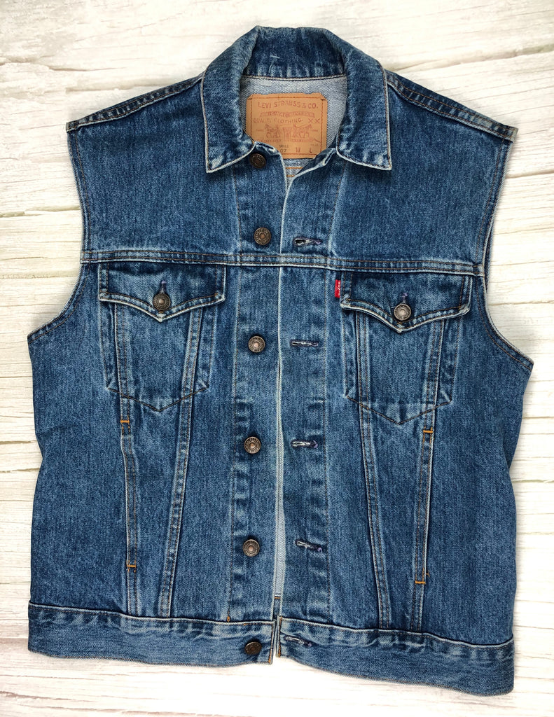 Aussie Made 80's Vintage Levis Mens Sleeveless Trucker Jacket - Size S