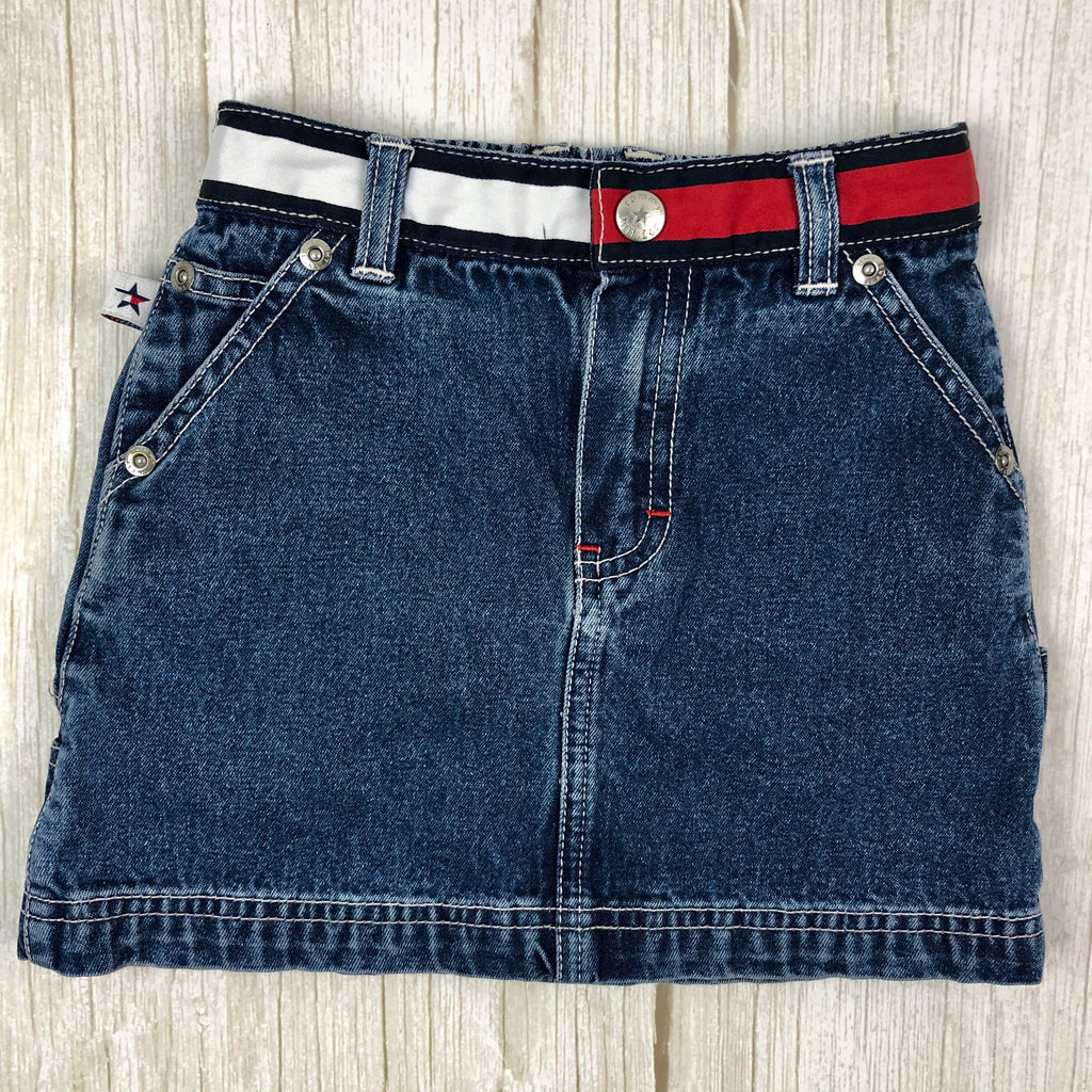 Tommy Hilfiger Girls Flag Waist Denim Skirt - Size 4