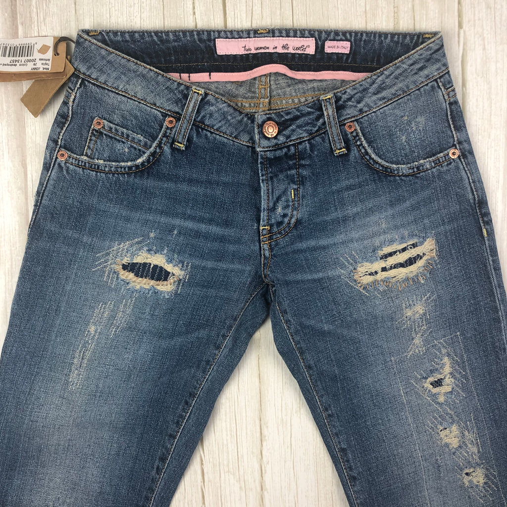NWT - Two Women in the World - Italian Destroyed 'Jenny' Jeans  -Size 26 Long
