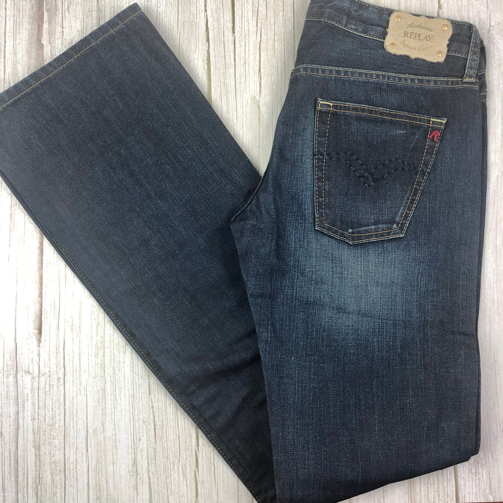 NWT - Replay Italy Distressed Straight Denim Jeans RRP $279.00- Size 29/34-Jean Pool