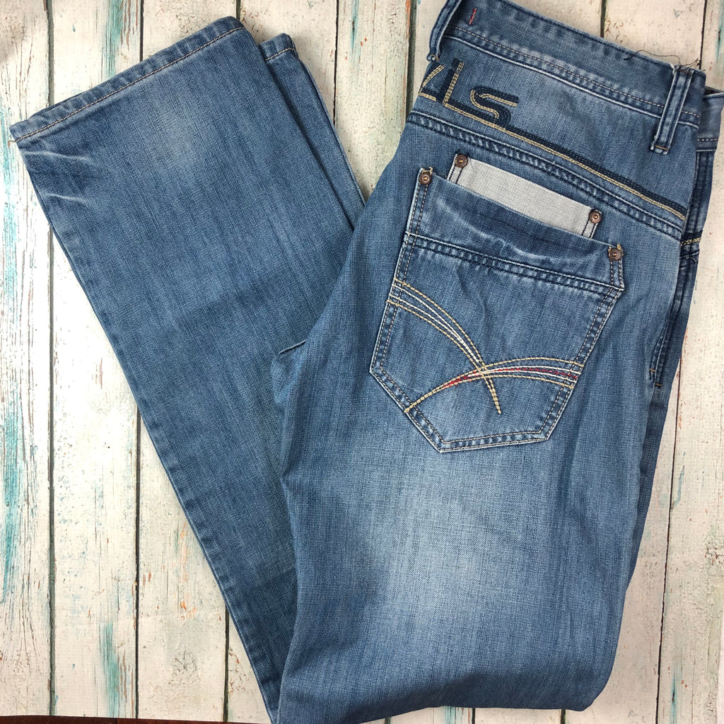 Jaylvis Jeans Classic Tapered Fit Mens Logo Jeans - Size 34/34
