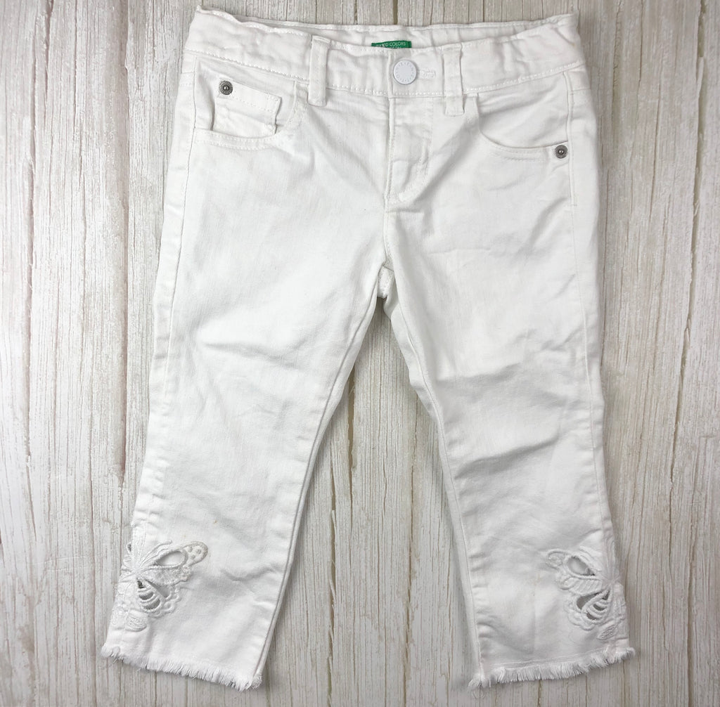 United Colors of Benetton Girls White Butterfly Applique Jeans- Size 6/7