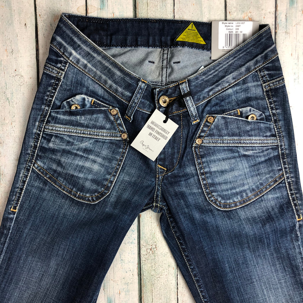NWT - Pepe 'Digit' Ladies Low Rise Straight Jeans- Size 25/32