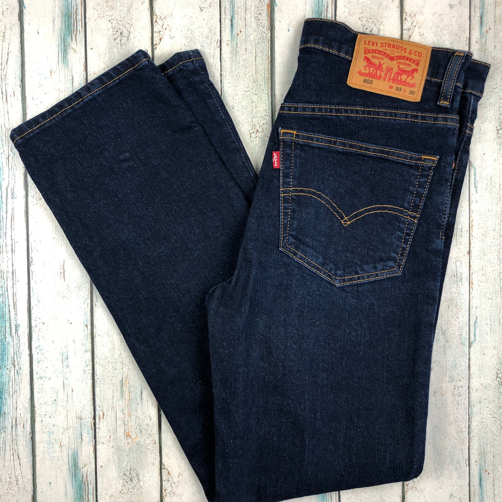 Dark Wash Classic Mens Levis 603 Tapered Jeans -Size 33/30
