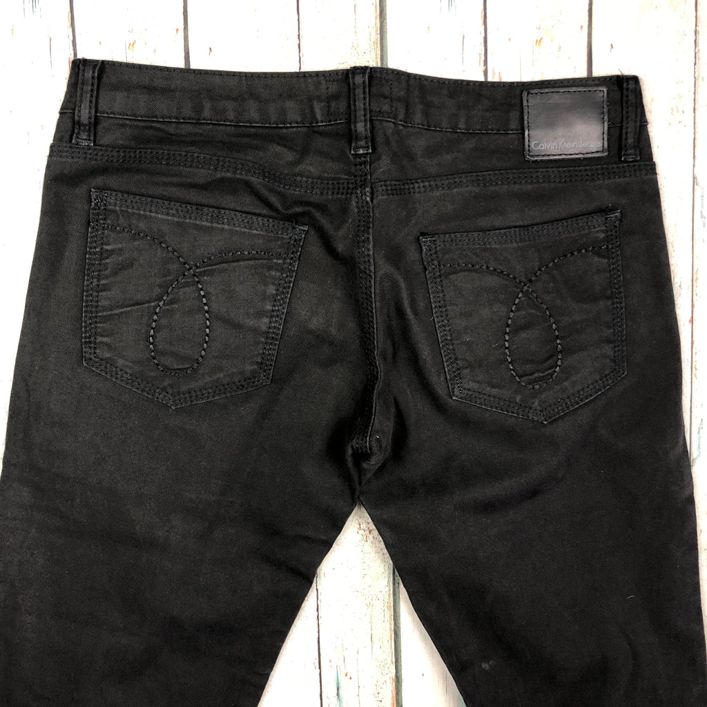 Calvin Klein Black Low  Rise Straight Slim Stretch Jeans  - Size 28