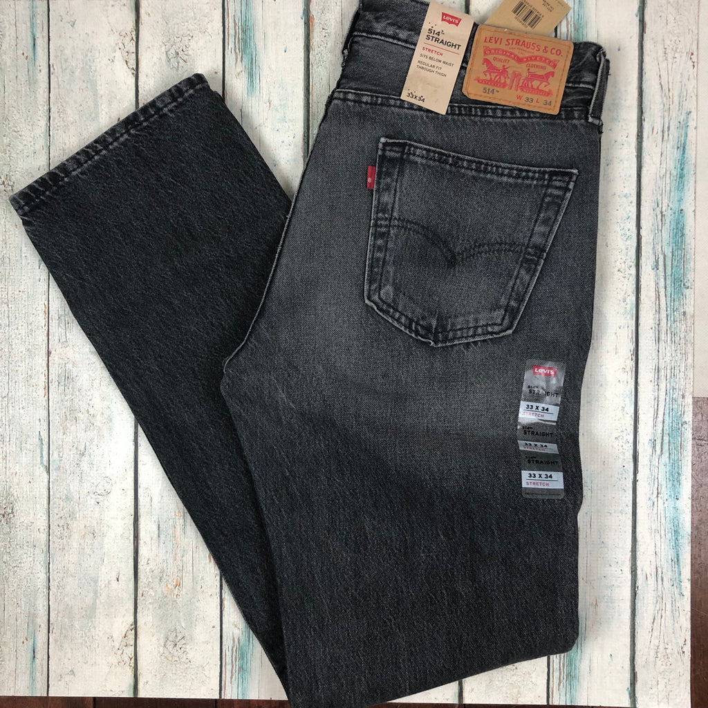 Levis 514 Straight Leg Charcoal Denim Jeans - Size 33/34