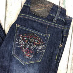 Ed Hardy Crystal Tattoo Print Ladies Denim Jeans - Size 27