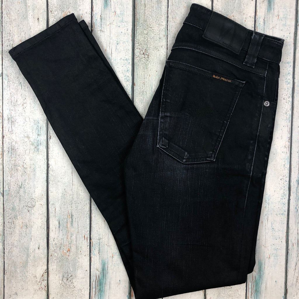 Nudie Jeans Co. Dry Black Coated Organic Cotton Jeans - Size 27/30