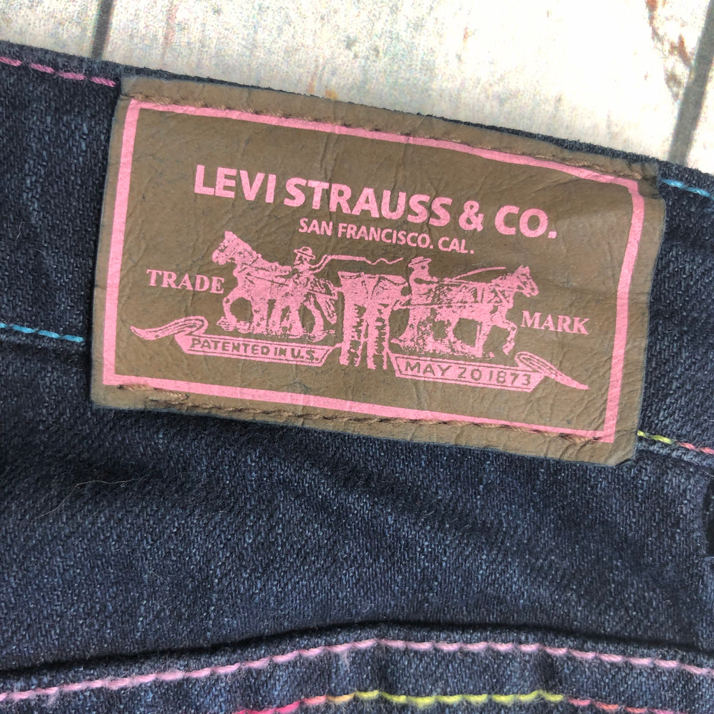 Levis Girls Rainbow Stitch Jeans - Size 4