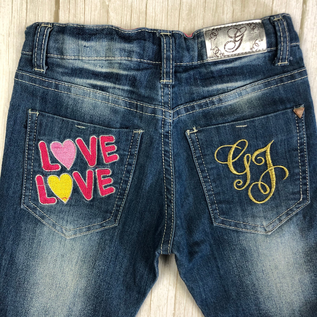 Guess Starlet Skinny Leg Girls Embroidered Jeans - Size 8