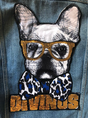 French Bulldog Large Jacket Back Panel- Sequinned Patch