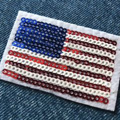 USA sequinned Flag-   Embroidered Cloth Patch