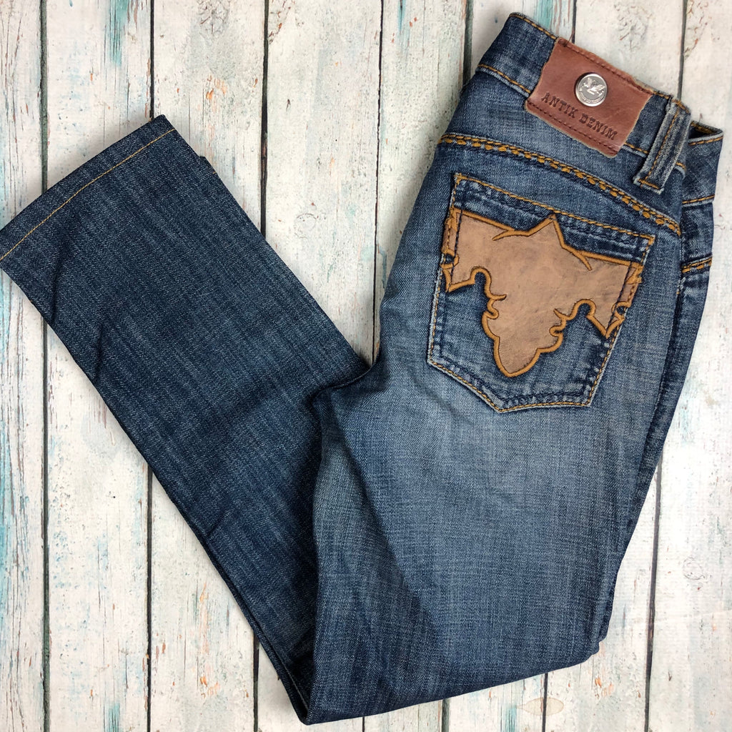 Antik Denim USA Leather Applique Flap Pocket Jeans- Size 24 Short