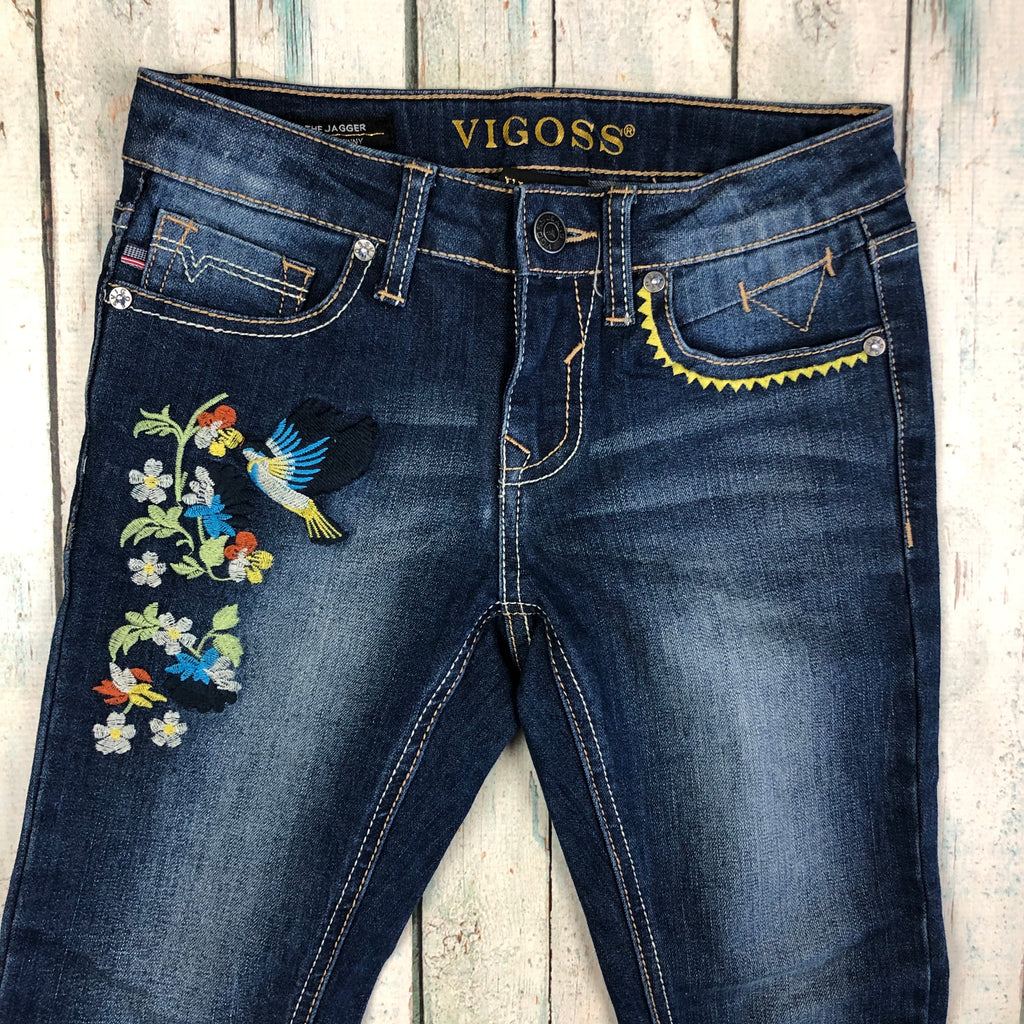 Girls Stunning Floral Embroidered Vigoss Skinny Jeans  - Size 8