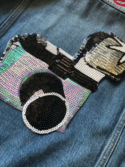 Camera & Flash Jacket Back Panel- Sequinned Patch
