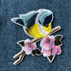 Cherry Blossom Bird - Embroidered Cloth Patch
