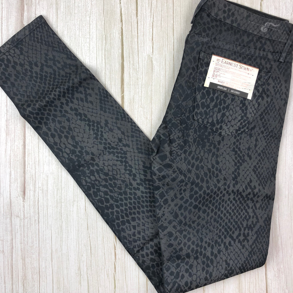 "NWT- Earnest Sewn  ""Harlan"" Snake Grey Skinny Jeans - Size 27"